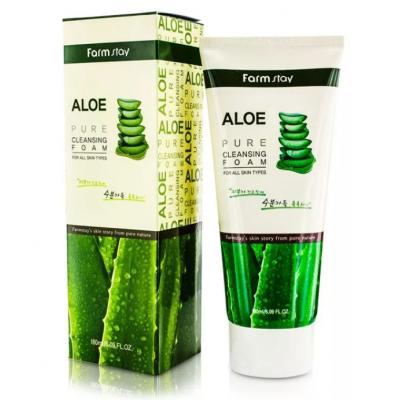 Пенка очищающая с экстрактом алоэ FarmStay Aloe pure cleansing foam, 180 мл