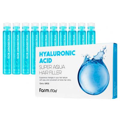Суперувлажняющий филлер для волос с гиалуроновой кислотой Hyaluronic Acid Super Aqua Hair Filler FarmStay, 10шт/13 мл