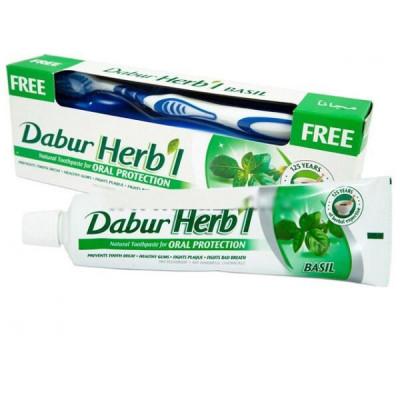 Зубная паста+зубная щётка Dabur herb'l Basil Toothpaste (паста с базиликой) (150 г)