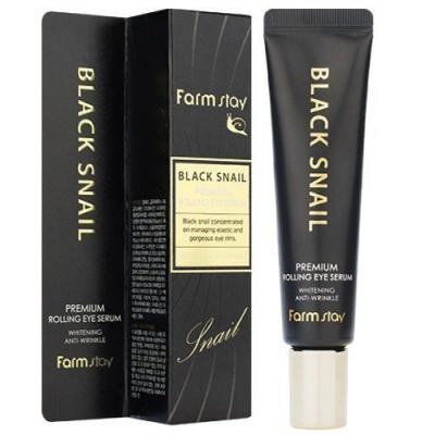 Антивозрастная сыворотка для кожи вокруг глаз с муцином улитки FarmStay Black Snail Premium Rolling Eye Serum, 25 мл