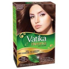 Vatika Natural Brown коричневая, краска для волос на основе хны 6 пак. по 10 г